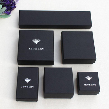 Customized Jewelry box Black paper box with pouch for gift package