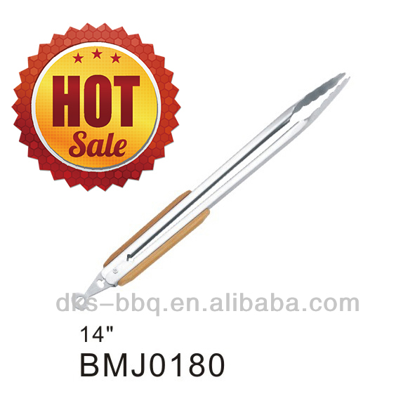 BMJ0180 Safety Design High Quality Stainless Steel Wooden Handle BBQ Grill Barbecue 14'' Kitchen Scissor Tongs