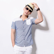 100% Mens' Cotton Short-sleeved Casual Shirts In Factory Price