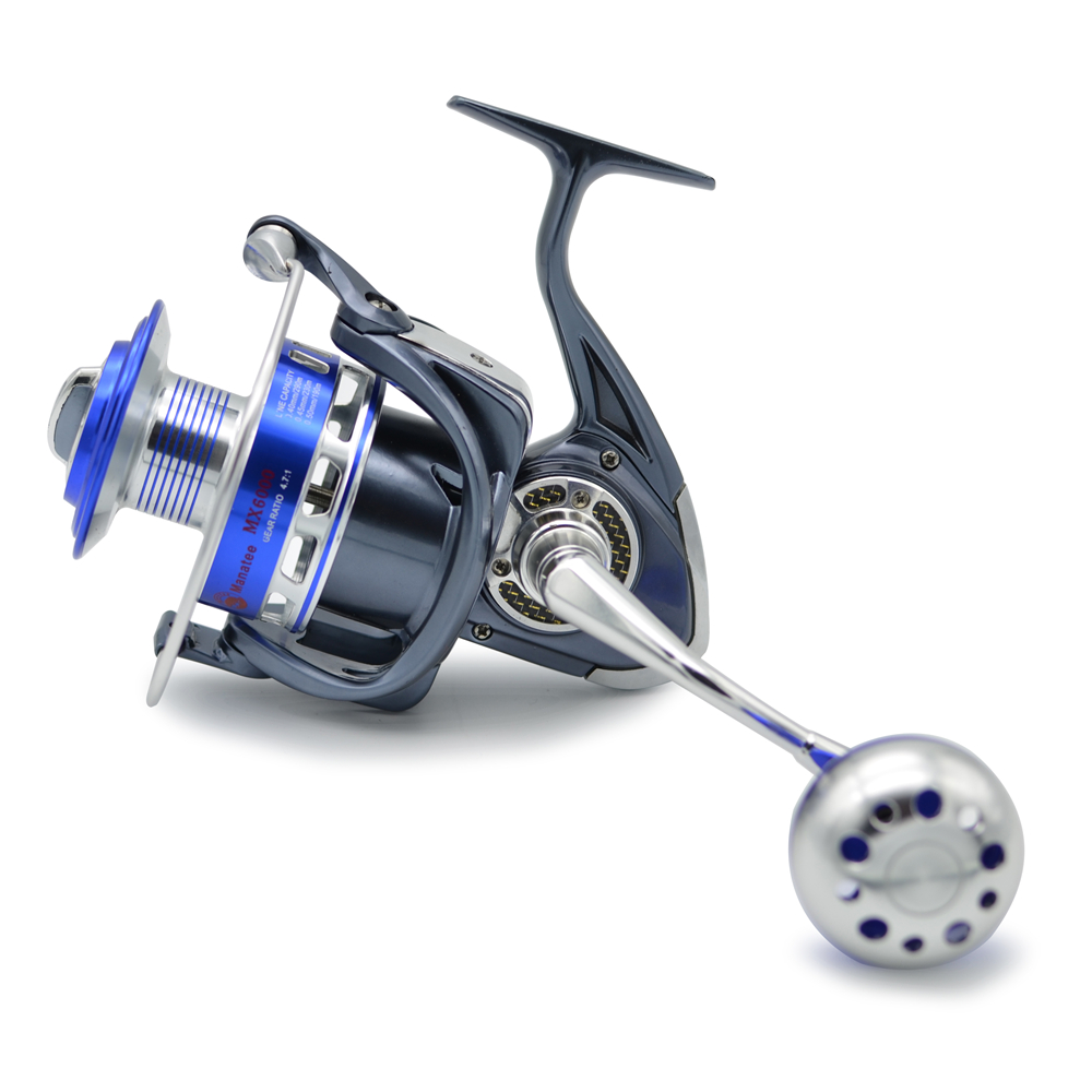 MX5000 30KG Power Drag 4.7:1 12+1 Ball Bearings Spinning Reels Heavy Duty Sea Fishing Boat Fishing Jigging Fishing Reel, Gray with blue