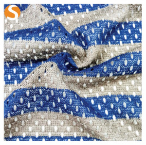 High elastica stripe mesh 100%Polyester knitted hacci fabric