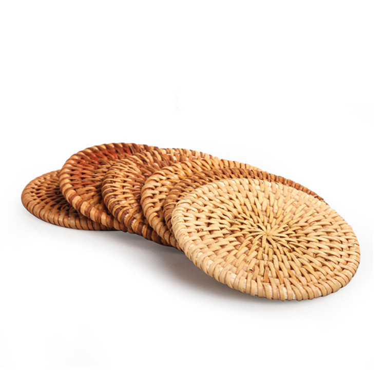 Renel Wood Round Rattan coaster for Tea Cup