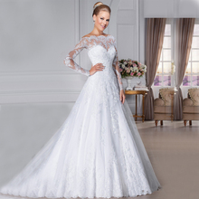 Glamorous Off the Shoulder Lace Wedding Dresses 2015 long Sleeves vestidos de novia robe de mariage See Through Wedding gowns