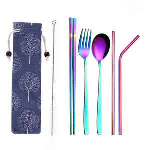 Amazon Top Seller 2020 Bar Kitchen Accessories 304 Stainless Steel Colors Gold Fork Spoon Chopsticks Straws Set With Cotton Bag