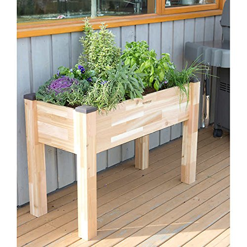 "CedarCraft Self-Watering Elevated Cedar Planter (34"" x 42"" x 30"") - Grow Fresh Vegetables, Herb Gardens, Flowers & Succulents. Raised Garden Bed for a Deck, Patio or Yard Gardening. No Tools Required."