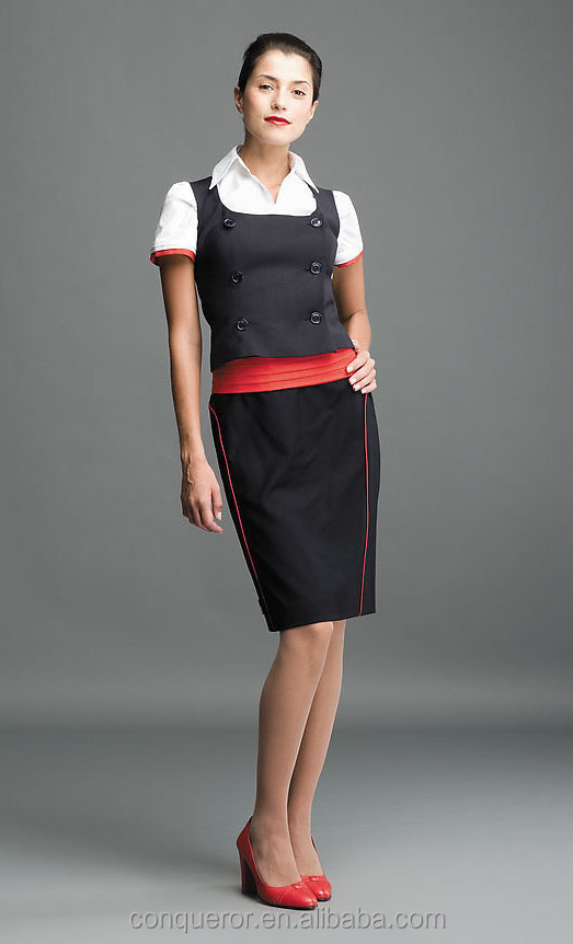 Airlines uniform for ladies in black dress