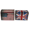 Vintage Union Jack and US Flag Design on Dome Top Large Storage Box