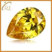 Beauty synthetic diamonds 5*7mm golden yellow pear shape cubic zirconia gems