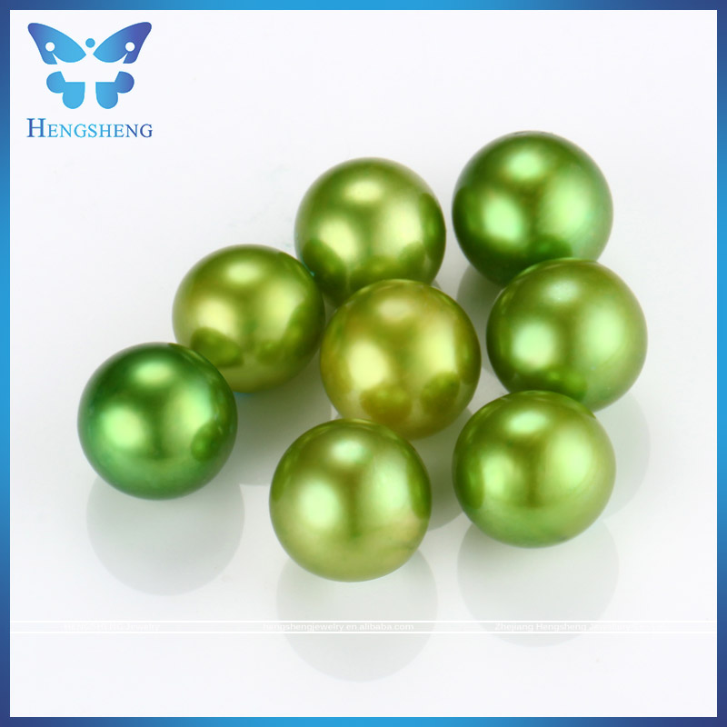 2017 fashionable color olive green near round AAA dyed freshwater beads for pearl jewelry