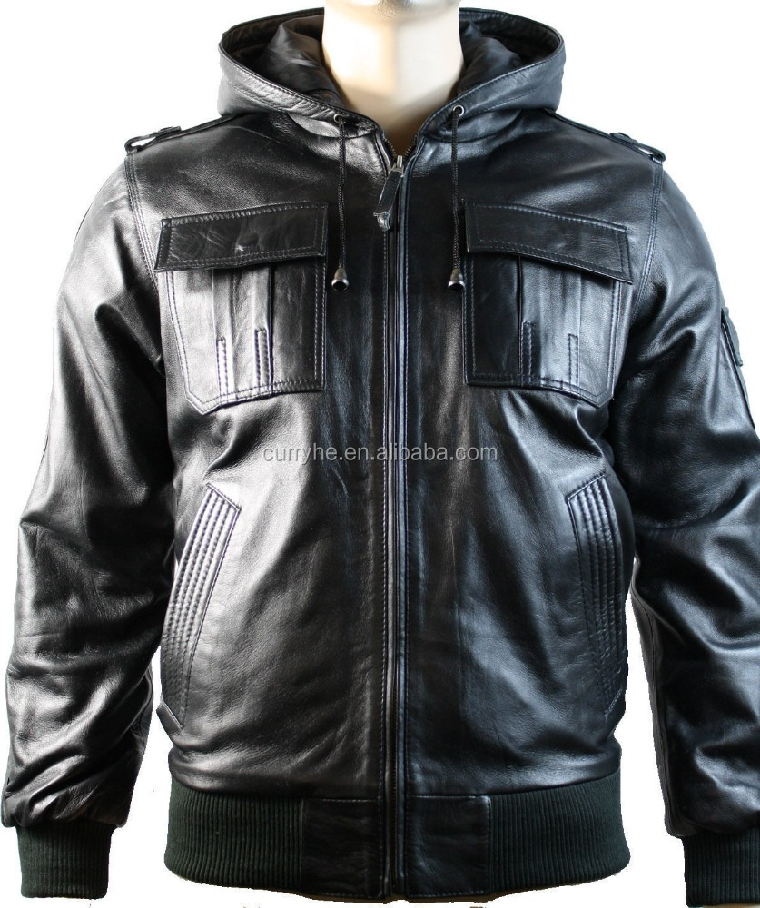 China Manufacturer OEM Service Spring Fashion Waterproof Pullover Black Ben Real Sheep skin Leather Jacket