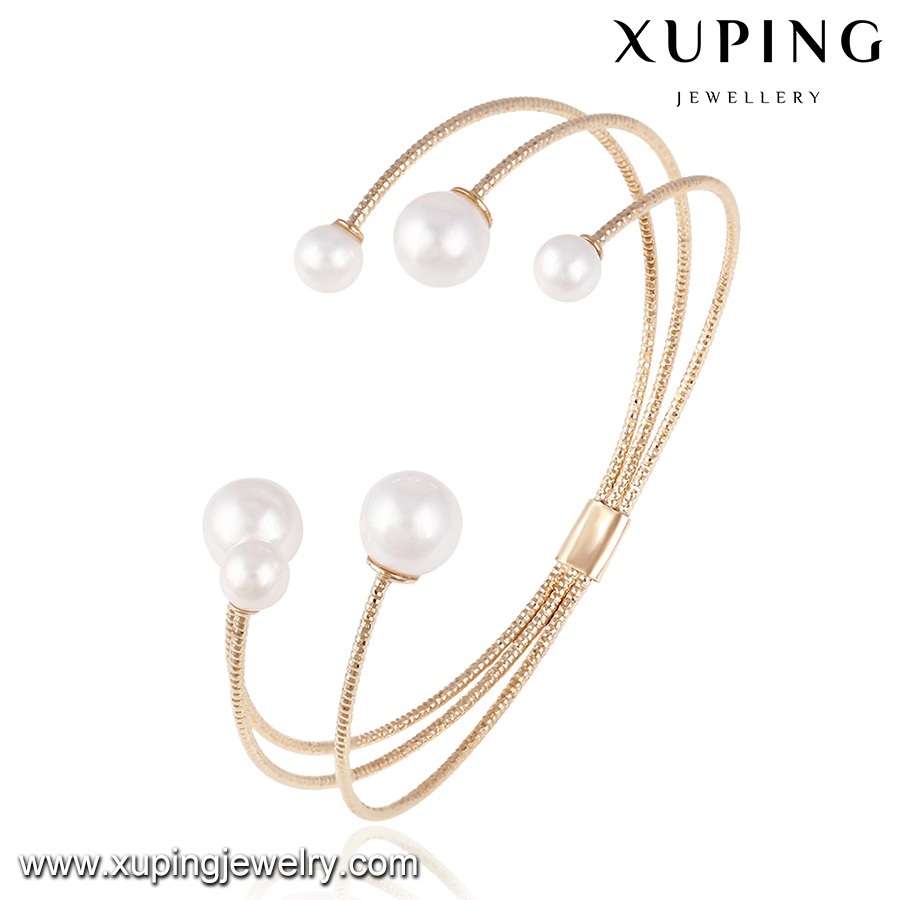 51560 xuping rose gold bangle, china wholesale cuff bangle, latest design jewelry pearl bangle