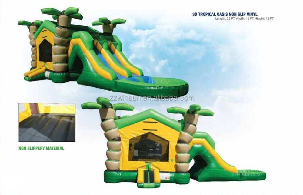 Inflatable 3D Tropical Oasis Non Slip Vinyl Combo