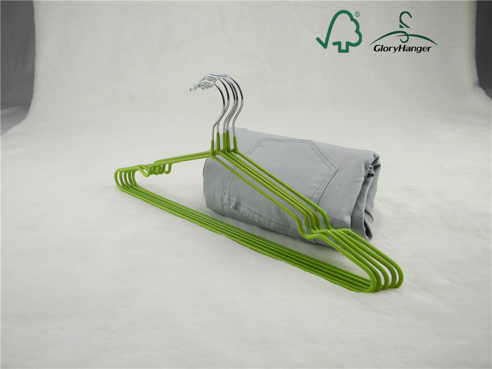 Green color pvc coating metal garment hanger with nocthes
