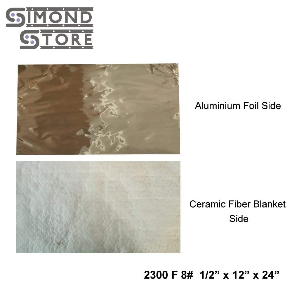 "Aluminium Foil Faced Ceramic Fiber Blanket 8# Density 2300F 1/2"" x 12"" X 24"" for Insulation of Chimney & Exhaust Duct"
