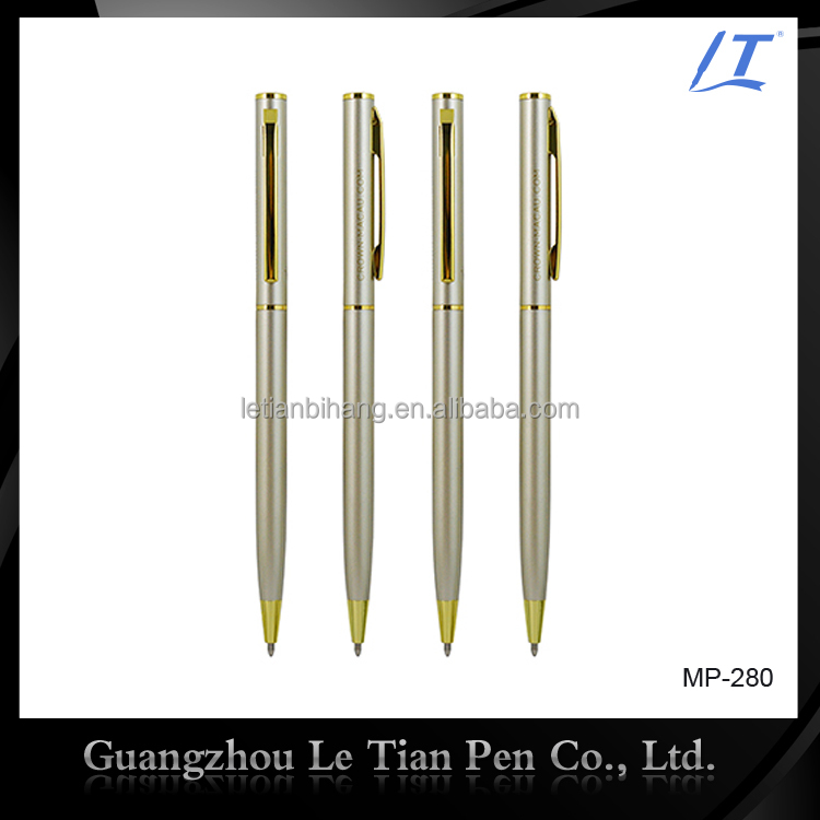 Golden thin metal ballpoint pen with oil ink refill for your logo brand