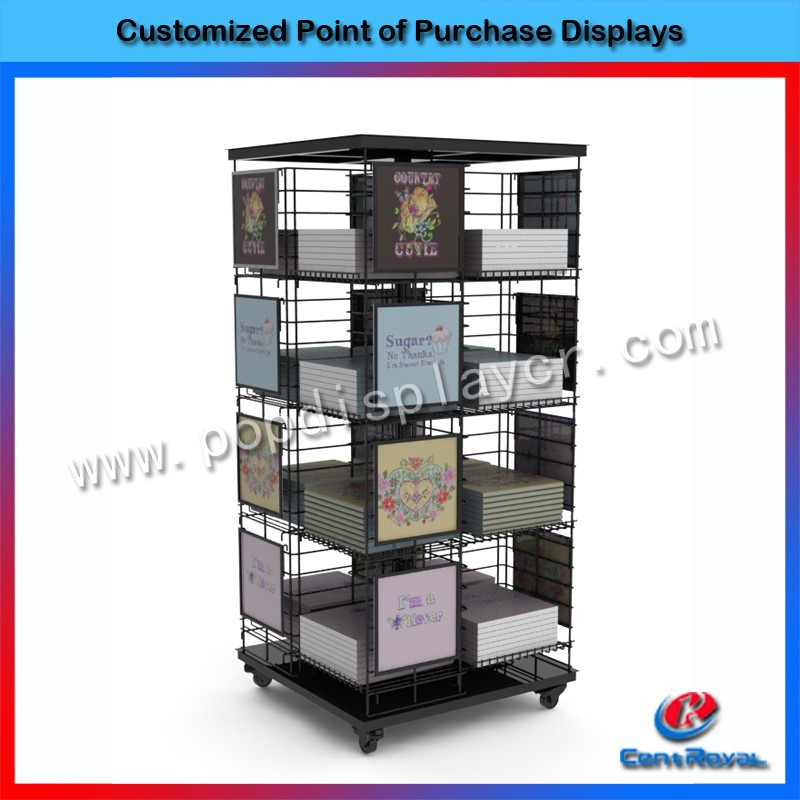 Fashion design metal books display stand with wood base