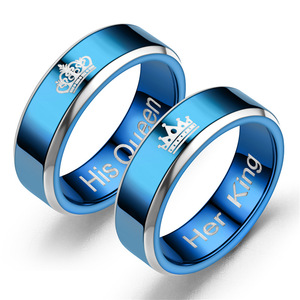Royal blue luxury Titanium steel diamond rings wholesale Couple rings her king his queen rings for men 6-13#