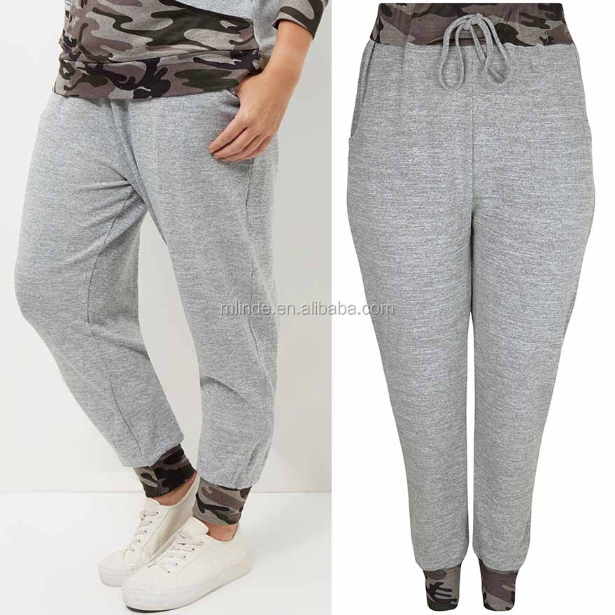 Plus Size Pants Clothing Women Camo Print Panel Lounge Joggers Safety Jogger Pants With Double Pockets
