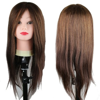 Dreambeauty Real Human Hair Mannequin Training Head 22inch Brown Color