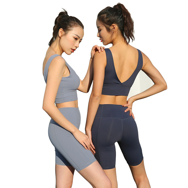 Yoga Set Solid Color 2 Piece Sports Bra and Shorts Set