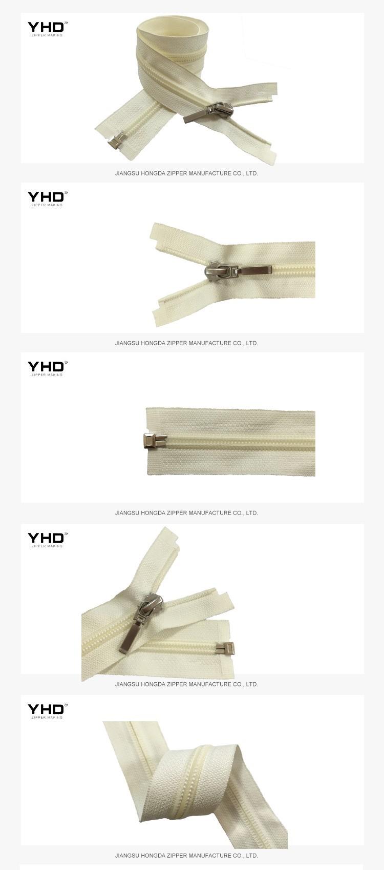 Prezzo di fabbrica all'ingrosso 5 # perno di Metallo casella in basso nylon estremità aperta della chiusura lampo