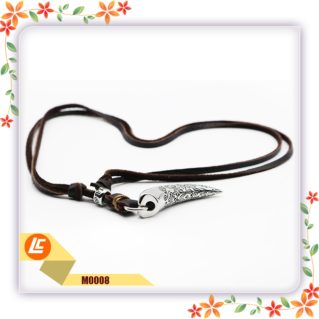 special stainless steel pendant deerskin genuine leather necklace for women