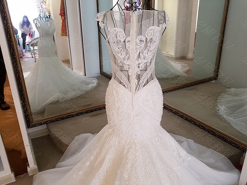 LS17006 Sexy mermaid wedding dress see through back cap sleeves tulle lace wedding gowns 2017 robe de mariee sirene 14