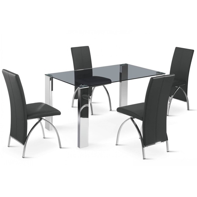 Fashion Chinese Black Glass Top Stainless Steel Frame Dining Table Set