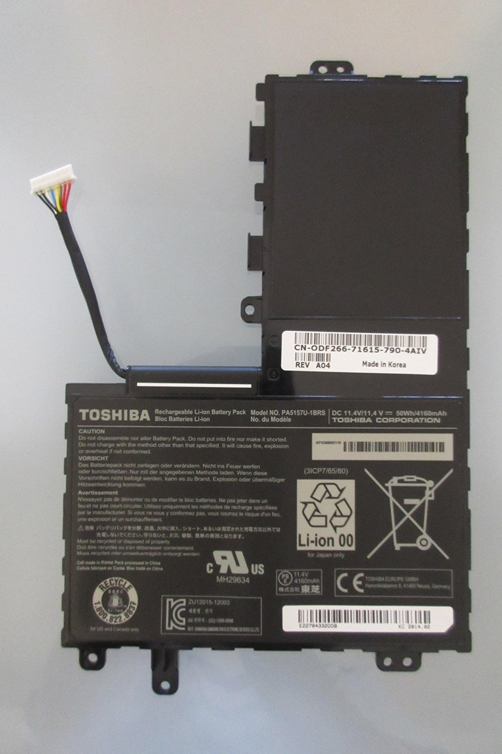 Li-ion 3 Cell Battery 50Wh 11.4V for Toshiba Satellite E45T-A4100 E45T-A4200 New Genuine