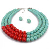 Vintage multi-layer red turquoise bead earrings and necklace jewelry set