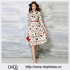 New Europe 2016 Spring Summer Women's Temperament bird Print Long Dresses Femme Sashes Casual Clothing Women Sexy Slim Party Dre