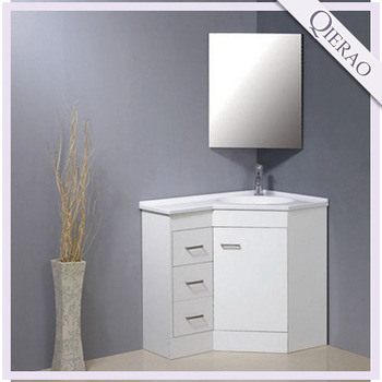 White solid wood free standing bathroom corner cabinet cn - Badmobel real ...