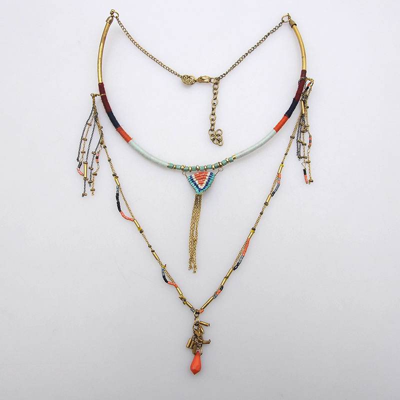Personality handmade long beads pendant chaplet necklace ethnic jewellery