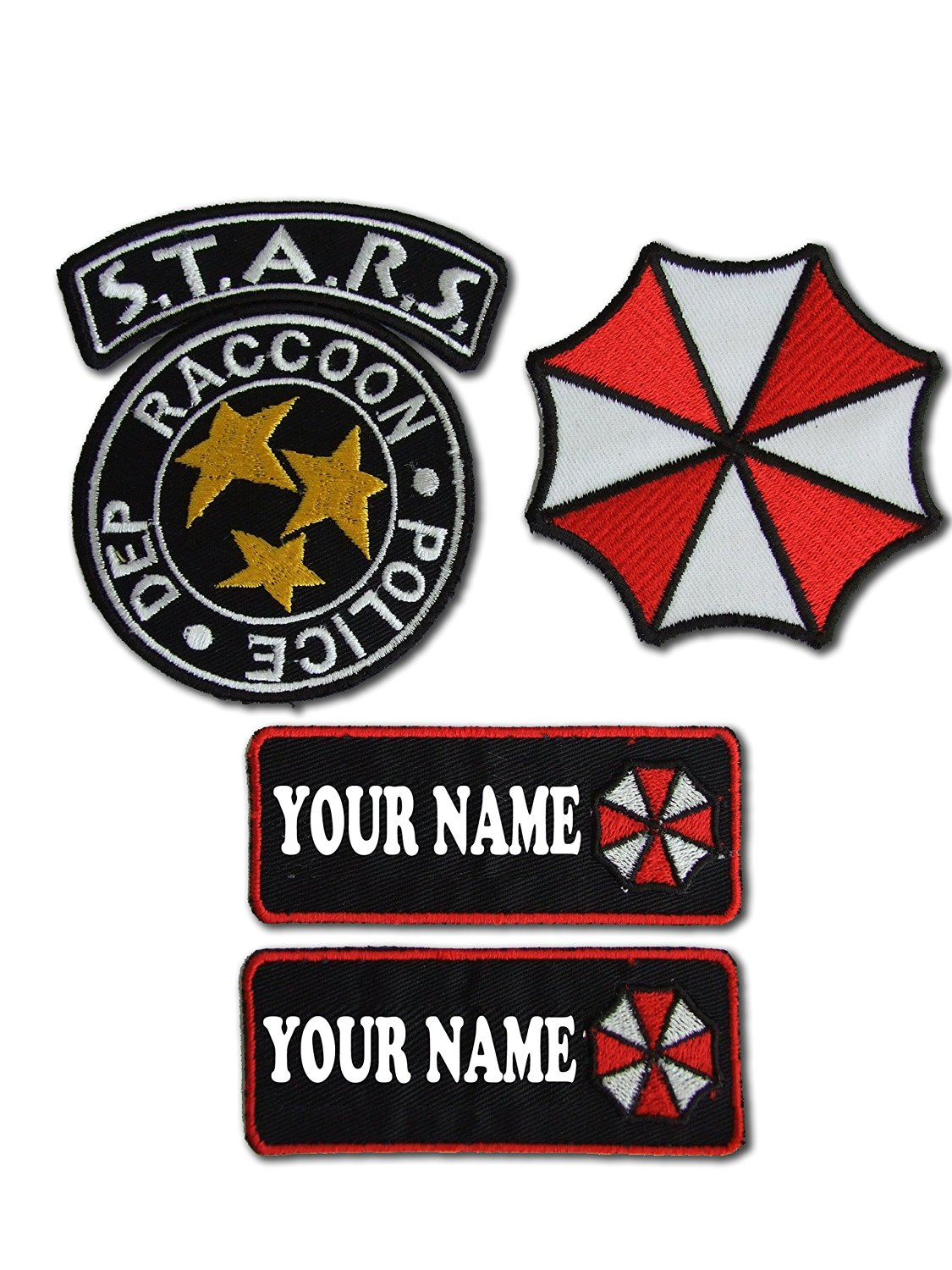 Stickerzzz!!! Black Resident Evil S.T.A.R.S Raccoon City Police Name Tag Set 4 Iron On Patches Black