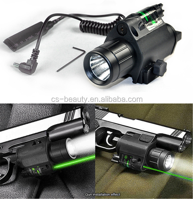 2 in 1 Combo Tactical Q5 LED Flashlight/LIGHT 200LM +Green Laser Sight For pistol/gun Handgun Glock 17 19 22 20 23 31 37