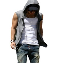 New 2016 Fashion Men Casual Slim Fit Basic Hooded Jacket Sleeveless Vest Waistcoat Zipper Hoodies Sports Sweatshirt 2 Colors