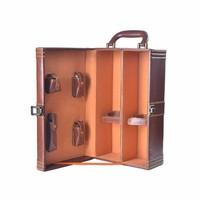 Handcraft Vintage Portable Leather Wine Bottle Carry Case,Wine Tavel Case.Wine Box