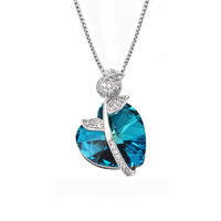 43801 fashion best brand jewelry factory Crystals from Swarovski, crystal heart pendant necklace
