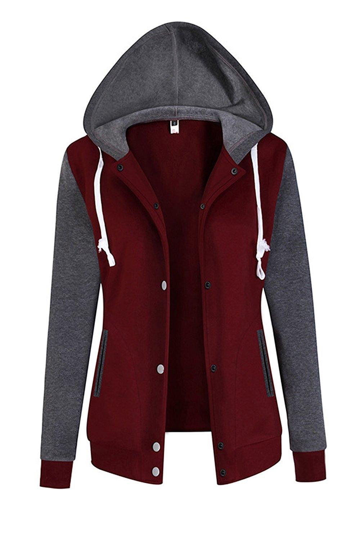 15ad6c6a44187 Get Quotations · Suvotimo Women Button Down Fleece Hoodies Sweatshirts  Transitional Baseball Jackets Coat