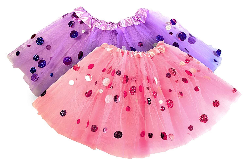 Pink Tutu & Purple Tutu Set – 2 Tulle Tutus Skirt for Girls – Halloween Costume, Ballet, Dress Up, Princess Party Favors