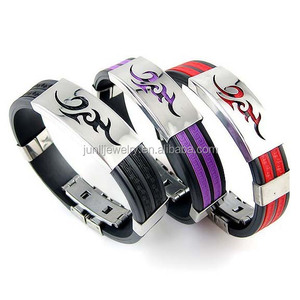 Custom Stainless Steel Clasp Charm 2 Colors Rubber Bracelet