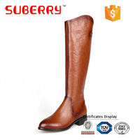 SUBERRY ankle boots for women large size boots buckle pointe genuine leather square thick med heels women shoes