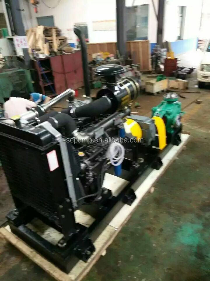 Diesel engine driving dewatering multistage pump with reduction box