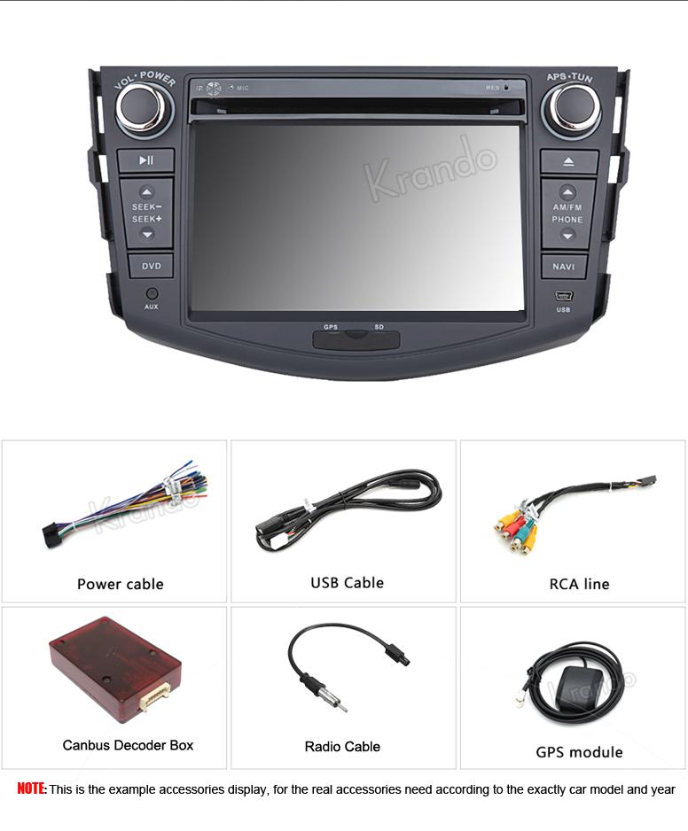 "Krando Android 6.0 7"" car radio for toyota rav4 2006-2012 navigation dvd multimedia system WIFI Playstore DAB+ 2G RAM KD-TR709"