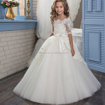 00a414521129 New fashion white and ivory girls wedding dress floral lace middle sleeve  vintage flower girl dress