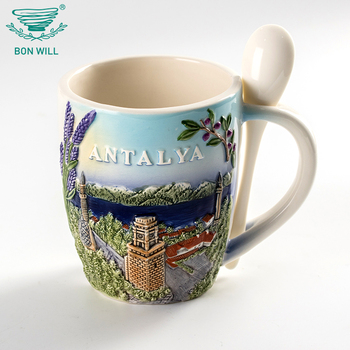 Custom logo hand painted souvenirs reusable chinese porcelain coffee cup with spoon