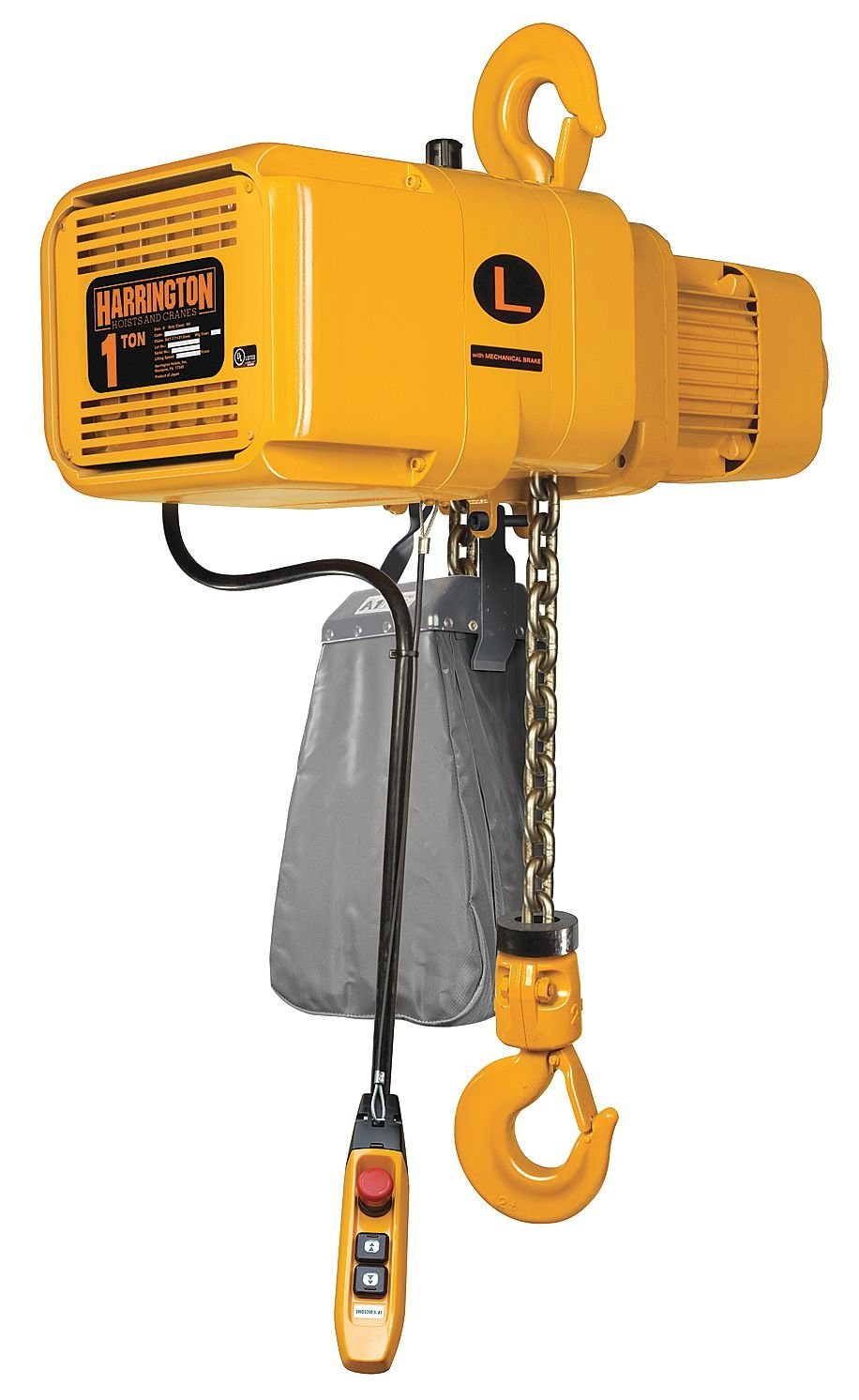 Harrington NERP003SD-15 NER Electric Hoist w/Push Trolley- 1/4 Ton, 15' Lift, 36/6 ft/min, 230V
