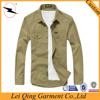 Spring and autumn fashion casual men shirt slim fit plain khaki shirts