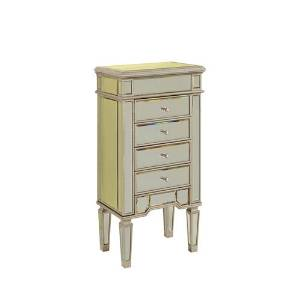 "Elegant Lighting Florentine 4-Drawer Jewelry Armoire with Silver/Clear Mirror, 20"" by 15"" by 40"""
