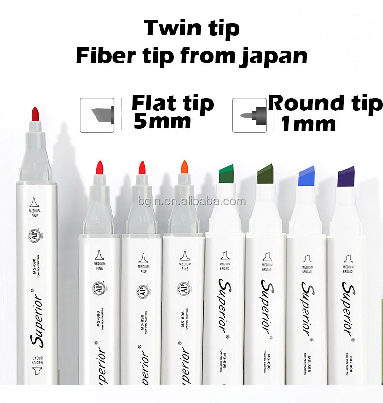 Superior Dual Tip Drawing Marker Pen Alcohol Double Head Touch Marker for Office & School Total 216 colors